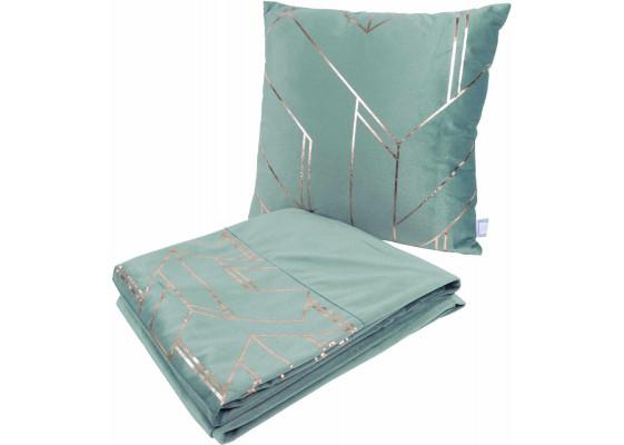 Набор подушка и плед Prisma 125 Mint/Gold