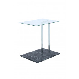 Стол Quadro SM525 Clear/Chrom/Blackmarble