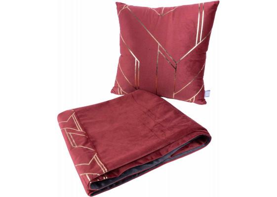 Набор подушка и плед Prisma 125 Red/Gold