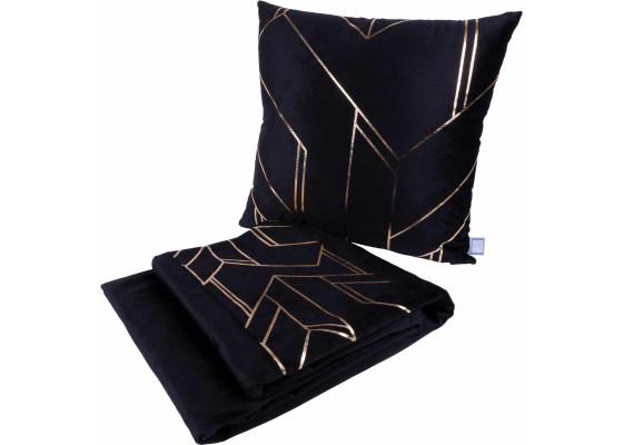 Набор подушка и плед Prisma 125 Black/Gold