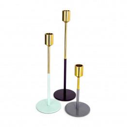 Набор подсвечников Flame M150/3 Gold/Mint/Plum/Grey