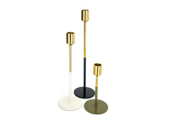Набор подсвечников Flame M170/3 Gold/White/Green/Grey