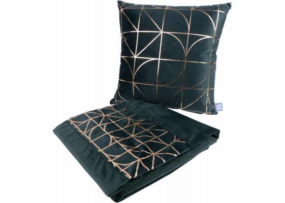 Набор подушка и плед Prisma 300 Green/Gold