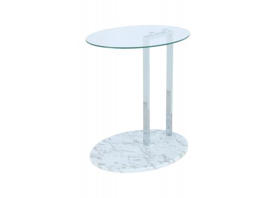 Стол Mark SM275 Clear/Chrome/Whitemarble