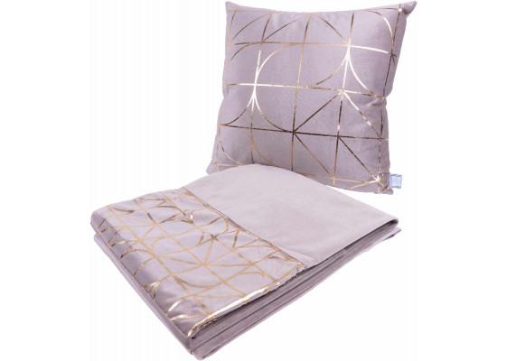 Набор подушка и плед Prisma 300 Taupe/Gold